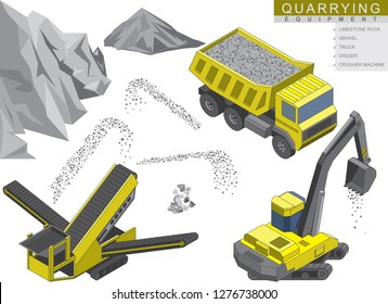 Isometric set of Quarrying equipment. Mobile stone crusher machine with Digger and Heavy Truck isolated on white, gravel particles and rock on the background. Vector