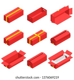 Isometric set of red cardboard box isolated with yellow ribbon on white background. Isoleted vector illustration. Open and close empty carton packaging box of cartoon style for your bisiness design