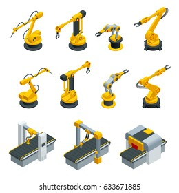 Isometric set of robotic hand machine tool or  Industrial welding robots in production line manufacturer factory