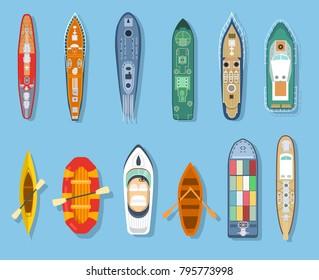 Isometric set ship frigate boat yacht transport cruise liner and canoe, vector illustration