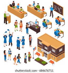 Isometric set of students and teachers in high school and university on white background isolated vector illustration