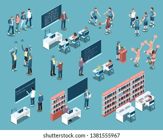 Isometric set with students in university classes graduates and sport team players isolated on blue background 3d vector illustration