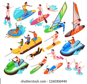 Isometric set of summer water active recreation so as banana boat surfing windsurfing jet skiing flyboarding isolated vector illustration