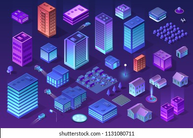 Isometric set of ultraviolet city of violet colors 3d building modern town street, urban road architecture. Vector illustration map of isometry for the business design concept.