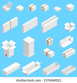 Isometric set of white cardboard box isolated on cian background. Isoleted vector illustration. Open and close empty carton packaging box of cartoon style for your bisiness design