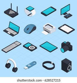 Isometric set of wireless mobile devices with smartphone notebook headphones usb tablet printer mouse modem icons isolated vector illustration