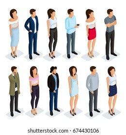 Isometric set of women and men in modern clothing. Elegant and fashionable people 3d. Men in business clothes, women in a dress, skirt, trousers.Vector illustration