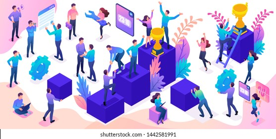 Isometric set of young people and details to create a bright vector illustration on the theme of success