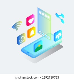 Isometric share photo and images vector illustration concept, can use for, landing page, template, ui, web, mobile app, poster, banner, flyer