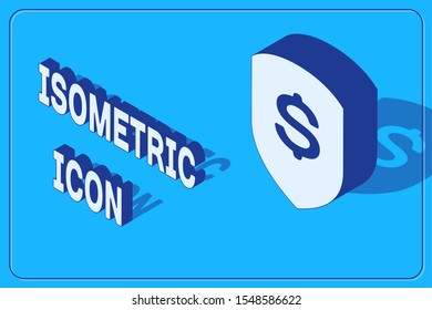 Isometric Shield and dollar icon isolated on blue background. Security shield protection. Money security concept.  Vector Illustration