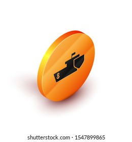 Isometric Ship with shield icon isolated on white background. Insurance concept. Security, safety, protection, protect concept. Orange circle button. Vector Illustration