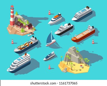 Isometric ships. Boats and sailing vessels, ocean tropical island with lighthouse and beach. 3d vector illustration. Boat nautical, sailboat and yacht in ocean