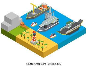 Isometric ships on water, trees. vector illustration