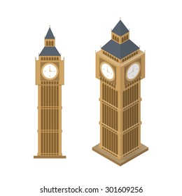 Isometric simple illustration of Big Ben tower in london. Isolated on white. EPS10 vector.