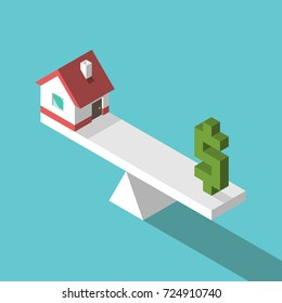 Isometric small house and green dollar sign on weight scales. Balance, price, real estate and home concept. Flat design. Vector illustration, no transparency, no gradients