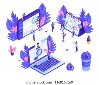 Isometric small people work with tablets, laptop, make planning on the calendar. Job search, recruiting. Reports and analytics. Isolated background