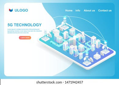 Isometric smart city and 5G technology  network on smartphone. Vector illustration in 3d design.