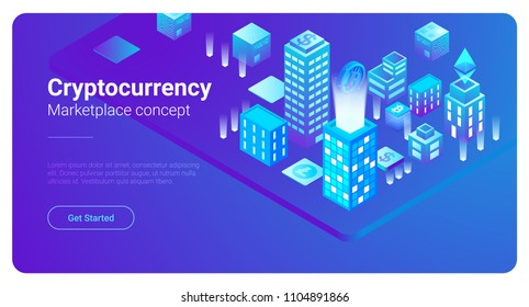 Isometric Smart City Skyscrapers Buildings abstract vector illustration.  Blockchain Cryptocurrency Marketplace business finance concept.