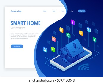 Isometric Smart home technology interface on smartphone app screen with augmented reality AR view of internet of things IOT connected objects in the apartment interior, person holding device