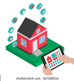 Isometric smart house technology system vector illustration. Hands holding  centralized control of lighting, HVAC (heating, ventilation,  air conditioning), appliances, security on a digital tablet.