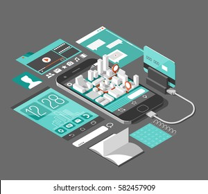 Isometric smart phone interface. Screen with different apps and icons. Map on mobile application. 3d vector illustration.