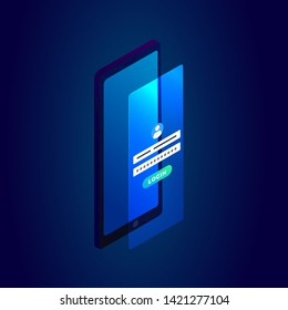 Isometric Smart phone mobile login page concept with a form for entering login, password, user icon and login button. Icon in a trendy isometric style with a bright phone screen.