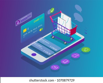 Isometric Smart phone online shopping concept. Online store, shopping cart icon. Ecommerce