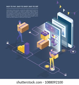 Isometric smart phone online shopping,   mobile store, distant trade, e-commerce flat isometric vector concept. Modern web design