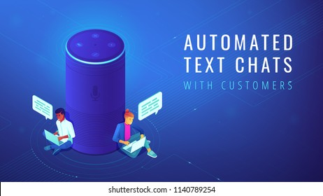 Isometric smart speaker with title automated text chats. Voice activated digital assistants and automated customer service experience concept. Blue violet background. Vector 3d illustration.