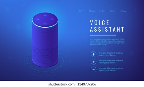 Isometric smart speaker with title voice assistant landing page. Voice activated digital assistants and home automation hub concept. Blue violet background. Vector 3d isometric illustration.