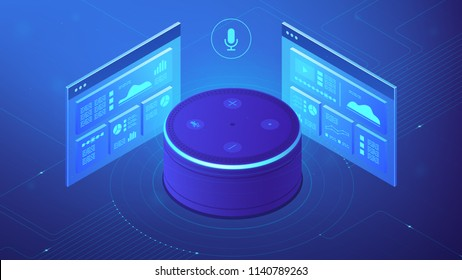 Isometric smart speaker and web pages. Voice activated digital control for websites and mobile applications, smart voice navigation concept. Blue violet background. Vector 3d illustration
