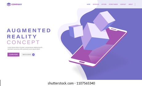 Isometric smartphone with blocks, responsive web landing page for Augmented Reality (AR) concept.