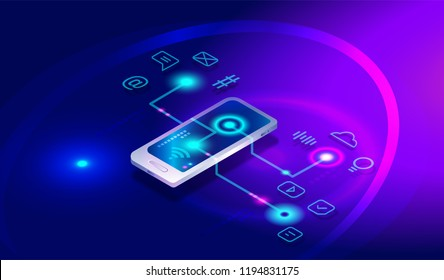 Isometric smartphone with different applications, apps, 7 on-line services, software. Isometric smartphone, mobile phone 3d and social media icons, internet banking