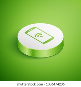 Isometric Smartphone with free wi-fi wireless connection icon on green background. Wireless technology, wi-fi connection, wireless network, hotspot concepts. White circle button. Vector Illustration