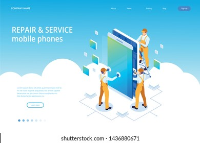 Isometric smartphone repair service concept. Electronics repair service. Same day phone repair landing page website template