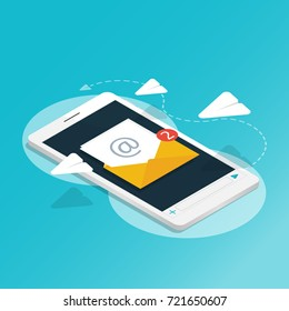 isometric smartphone send message rocket paper,You've got mail,application notifications vector