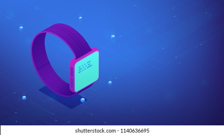 Isometric smartwatch with interface data on the screen. Wearable devices UI, UX design and application software development. IT business concept. Ultraviolet background. Vector 3d illustration.