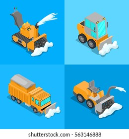 Isometric Snow Removal Transportation Set with Snowplow Truck and Tractor. Vector 3d flat illustration
