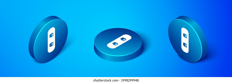 Isometric Snowboard icon isolated on blue background. Snowboarding board icon. Extreme sport. Sport equipment. Blue circle button. Vector Illustration