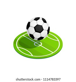 Isometric Soccer Ball. 3d ball icon on the football field. Vector illustration.