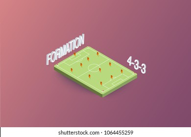 isometric soccer or football player, formation, in the field vector illustration