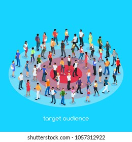 Isometric social concept. Target audience. 3d crowd of people with different skin color, men and women stand on the target. Vector illustration.