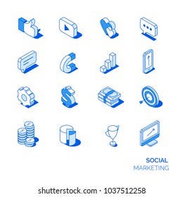 Isometric social marketing icons set. Line style 3D icons