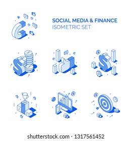 Isometric social media and finance compositions set. Line style 3D vector illustrations data analysis, money and advertisement
