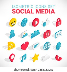 Isometric social media flat icons set. 3d concept with chat, video, mail, phone, hashtag, like, music sign. Web illustration infographics collection