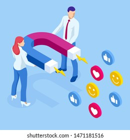 Isometric social media likes and follows or marketing magnet engaging followers concept.