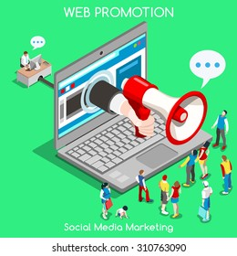 Isometric Social media marketing Advertise Promote People Isometric speaker 3D Flat Vector Icon Set Online Media Promote Social Web Template Mockup Flat Marketing advertise 3D People Web infographic