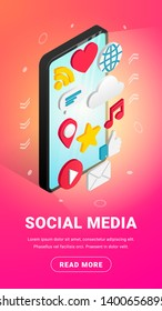 Isometric social media vertical banner design with text and button. Flat icons on smartphone screen vertical. 3d concept with chat, video, mail, phone, cloud, like, music sign. Vector illustration