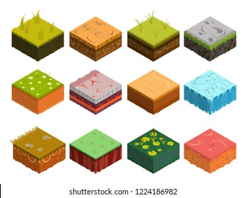Isometric Soil Layers diagram. Cross section of green grass and underground soil layers beneath. The stratum of organic, minerals, sand, clay. Isometric soil layers with top layer of green grass, ice