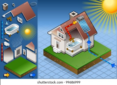 Isometric Solar Panel House Hot Water Production Diagram 3D Isometric Vector Illustration. Isometric Heat System Hot Water House Panel Diagram